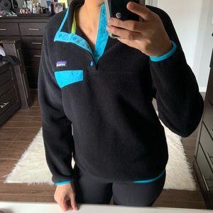 Patagonia synchilla black teal sweater sz S